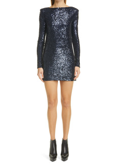Saint Laurent Long Sleeve Sequin Jersey Minidress