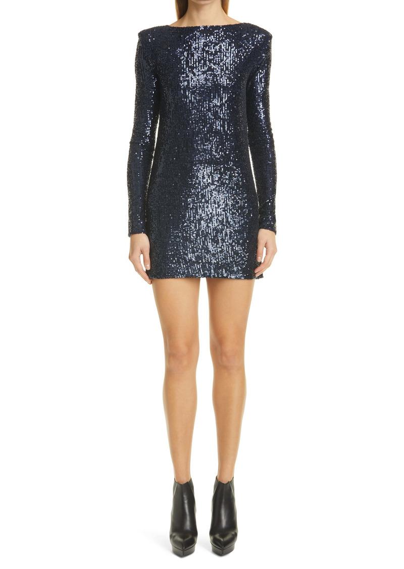 Saint Laurent Long Sleeve Sequin Jersey Minidress
