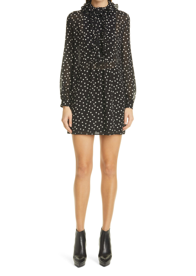 Saint Laurent Long Sleeve Silk Georgette Dress