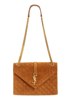 Saint Laurent Medium Envelope Mixed Matelassé Suede Shoulder Bag