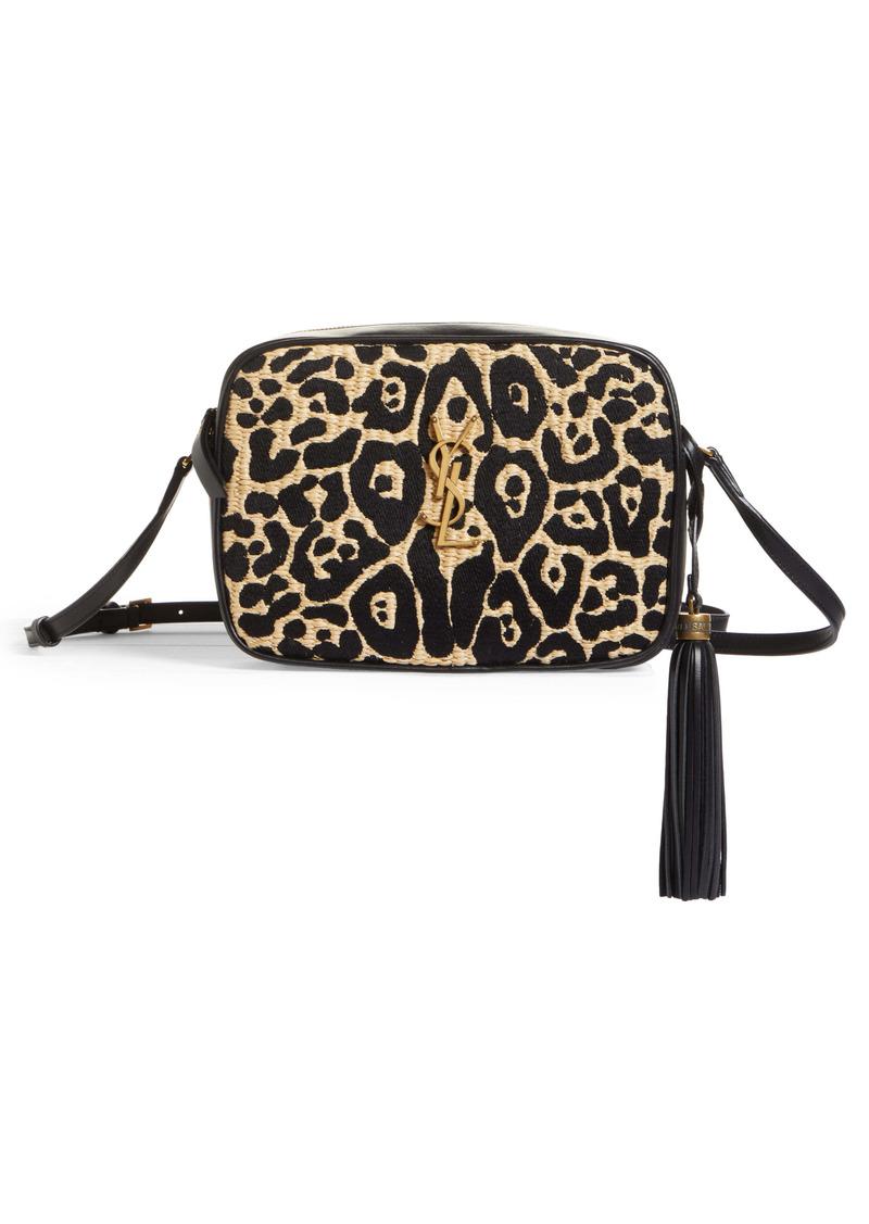 Saint Laurent Medium Lou Jaguar Pattern Raffia Camera Bag
