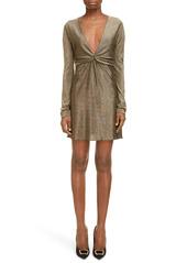 Saint Laurent Metallic Long Sleeve Minidress