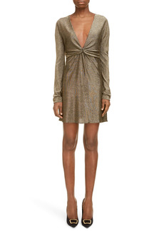 Saint Laurent Metallic Long Sleeve Minidress