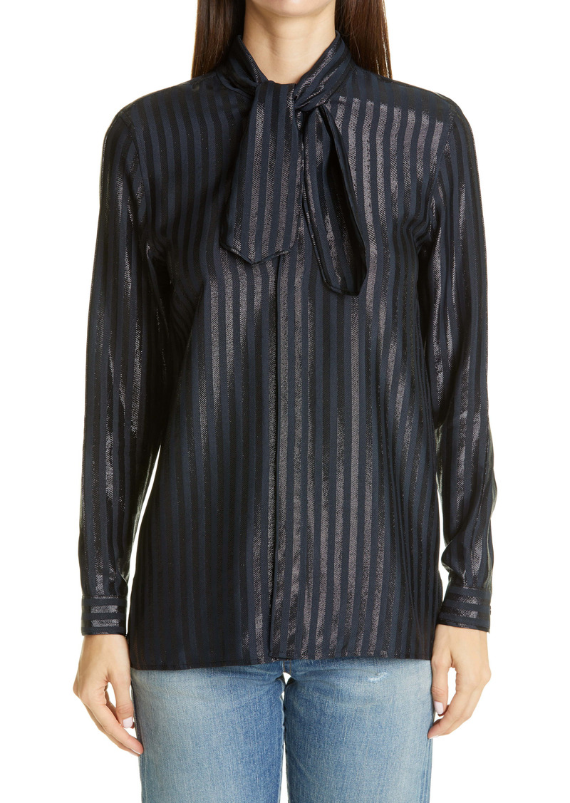 Saint Laurent Metallic Stripe Tie Neck Silk Blend Blouse