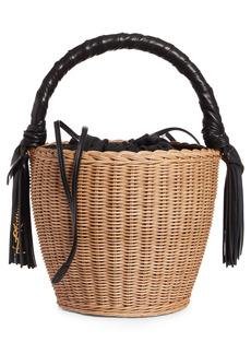 Saint Laurent Mini Panier Wicker Top Handle Bag