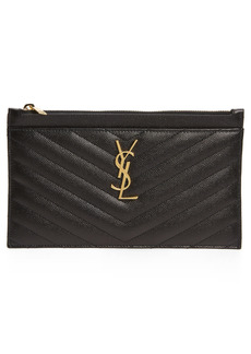 Saint Laurent Monogramme Quilted Leather Zip Pouch