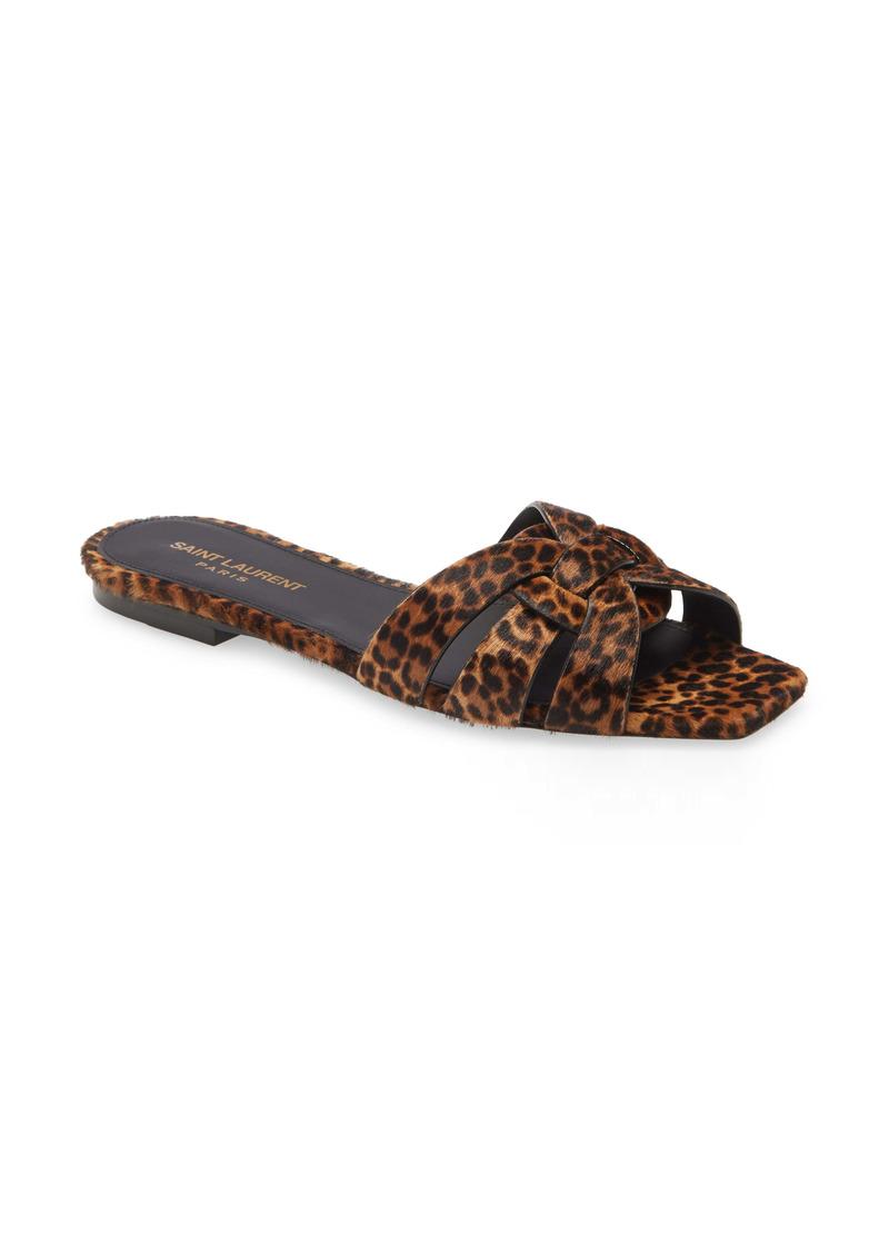 Saint Laurent Nu Pieds Leopard Print Genuine Calf Hair Slide Sandal (Women)