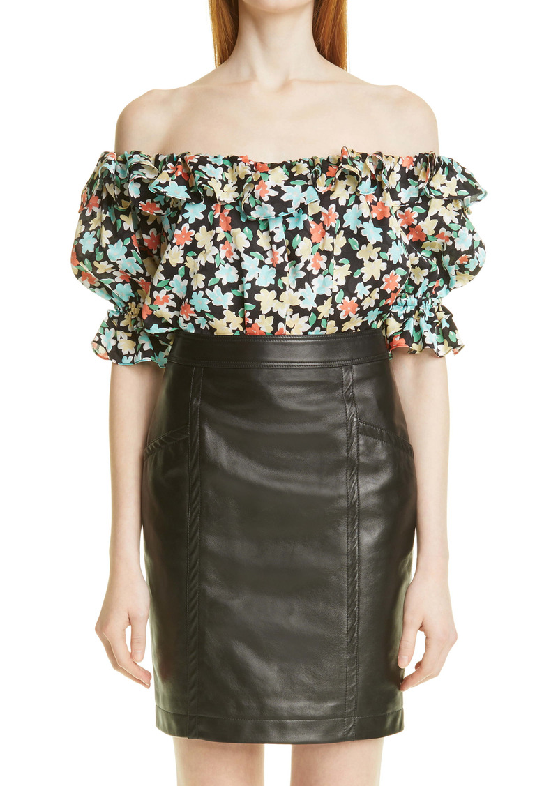 Saint Laurent Off the Shoulder Floral Print Silk Blouse