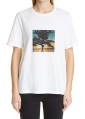 Saint Laurent Palm Tree Cotton Graphic Tee