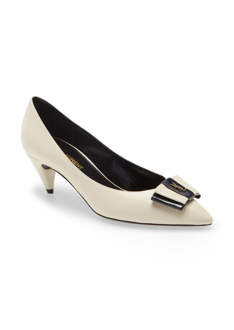 Saint Laurent Pierrot Monogram Bow Pointed Toe Pump (Women)