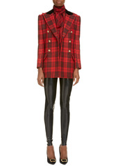 Saint Laurent Plaid Double Breasted Wool Jacket