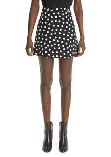 Saint Laurent Polka Dot Print Faille Skirt