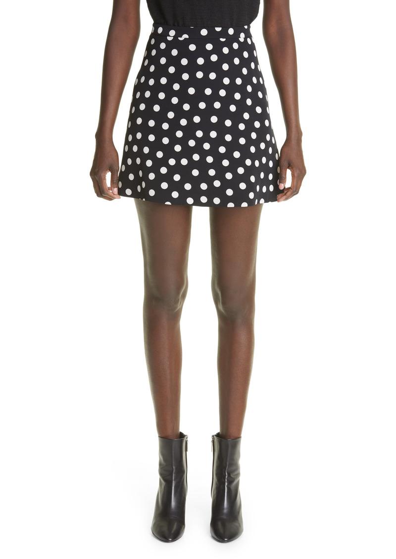 Saint Laurent Polka Dot Print Faille Skirt