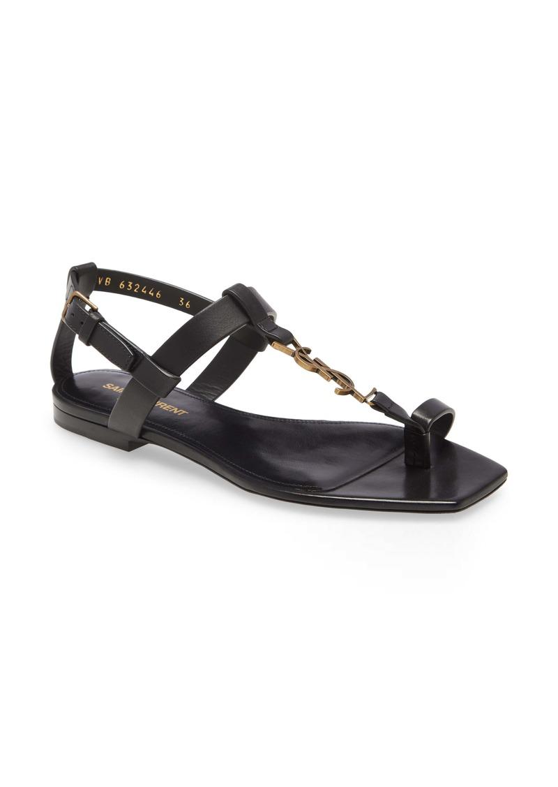 Saint Laurent Power Cassandra Logo Toe Strap Sandal (Women)
