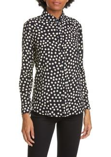 Saint Laurent Scatter Dot Silk Crêpe de Chine Shirt