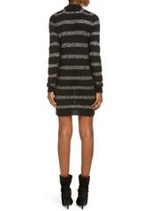 Saint Laurent Sequin Stripe Long Sleeve Mini Sweater Dress