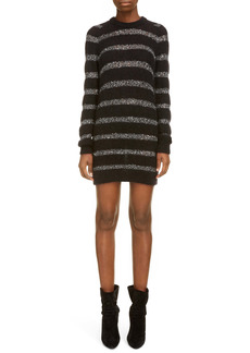 Saint Laurent Sequin Stripe Long Sleeve Mini Sweater Dress