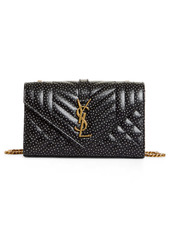 Saint Laurent Small Envelope Pin Dot Print Matelassé Leather Shoulder Bag