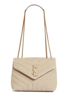 Saint Laurent Small Loulou Matelassé Linen Shoulder Bag