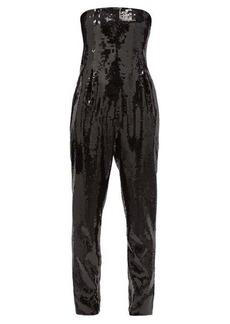 Saint Laurent Strapless sequinned bustier jumpsuit