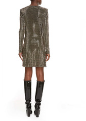 Saint Laurent Studded Long Sleeve Minidress