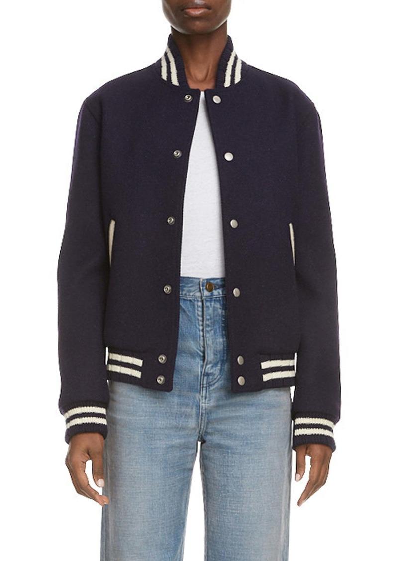 Saint Laurent Teddy Logo Patch Wool Blend Bomber Jacket