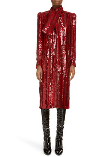Saint Laurent Tie Neck Long Sleeve Sequin Midi Dress