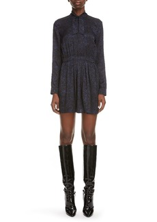 Saint Laurent Tie Neck Long Sleeve Silk Minidress