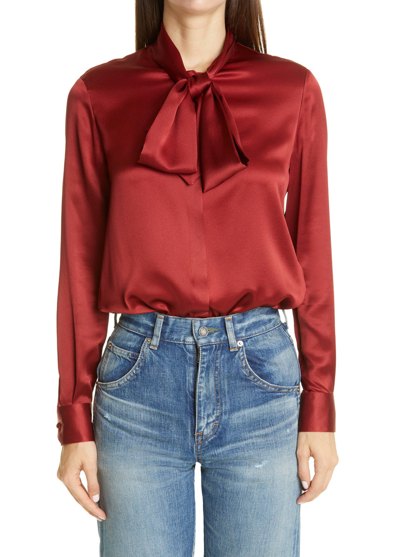 Saint Laurent Tie Neck Silk Satin Blouse