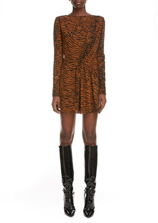 Saint Laurent Tiger Print Ruched Long Sleeve Minidress