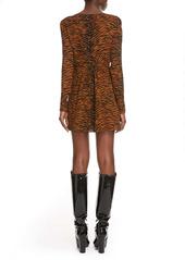 Saint Laurent Tiger Print Ruched Long Sleeve Minidress