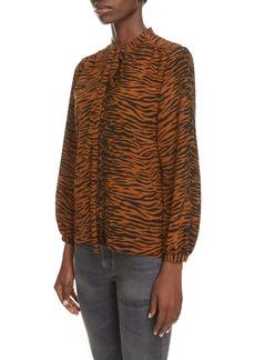Saint Laurent Tiger Print Tie Neck Silk Blouse