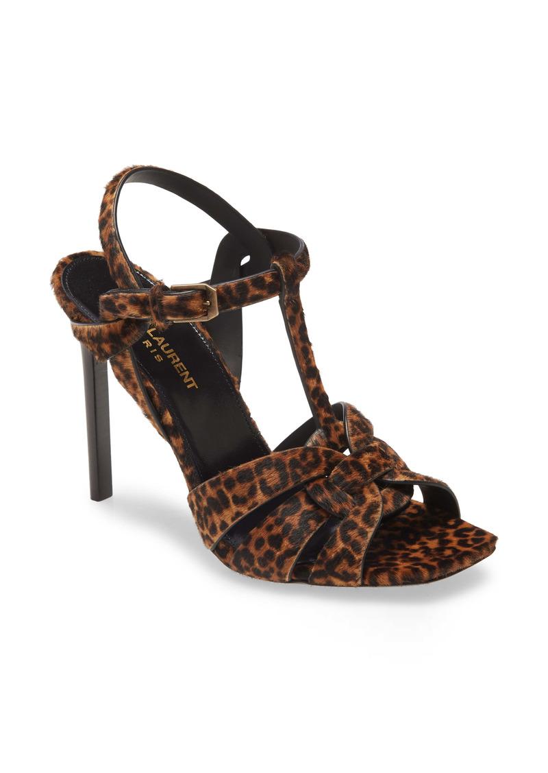 Saint Laurent Tribute Leopard Print Genuine Calf Hair Sandal (Women)