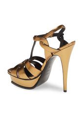 Saint Laurent Tribute Metallic T-Strap Platform Sandal (Women)