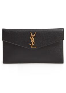 Saint Laurent Uptown Calfskin Leather Envelope Clutch - Black
