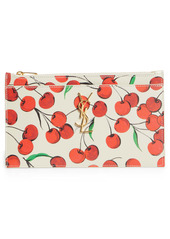 Saint Laurent Uptown Cherry Print Leather Clutch