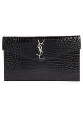 Saint Laurent Uptown Croc Embossed Leather Clutch