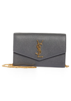 Saint Laurent Uptown Pebbled Calfskin Leather Wallet on a Chain