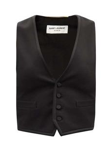 Saint Laurent V-neck wool-twill and silk-satin waistcoat