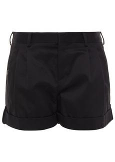 Saint Laurent Woman Pleated Cotton-twill Shorts Black