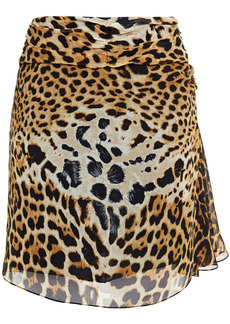 Saint Laurent Woman Ruched Leopard-print Silk-chiffon Mini Skirt Animal Print