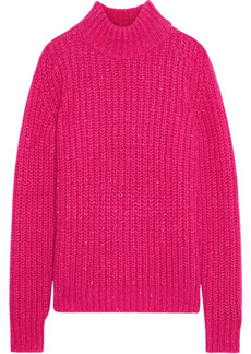 Saint Laurent Woman Sequin-embellished Ribbed Mohair-blend Sweater Bright Pink