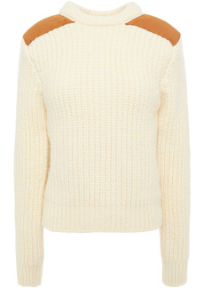 Saint Laurent Woman Suede-trimmed Ribbed Wool-blend Sweater Cream