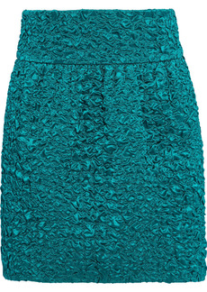 Saint Laurent Woman Silk-cloqué Mini Skirt Teal