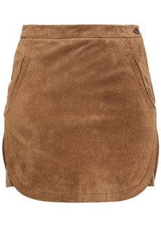 Saint Laurent Woman Studded Suede Mini Skirt Light Brown