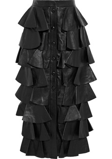 Saint Laurent Woman Tiered Leather Midi Skirt Black