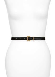 Saint Laurent YSL Monogram Genuine Calf Hair Belt