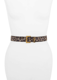 Saint Laurent YSL Monogram Leopard Print Leather Belt