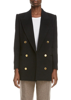 Women's Saint Laurent Double Breasted Wool & Angora Blazer