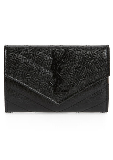 Women's Saint Laurent Monogram Quilted Leather French Wallet - Black